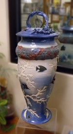Large Porcelain Fish Vase - Product Image
