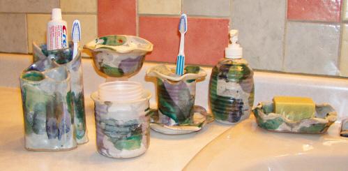 Handmade pottery for the bathroom