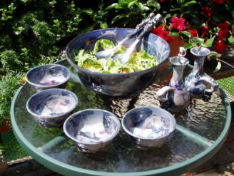 Handmade salad serving set